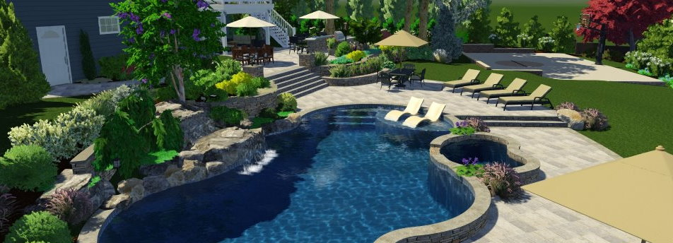 3d landscape design backyard with pool