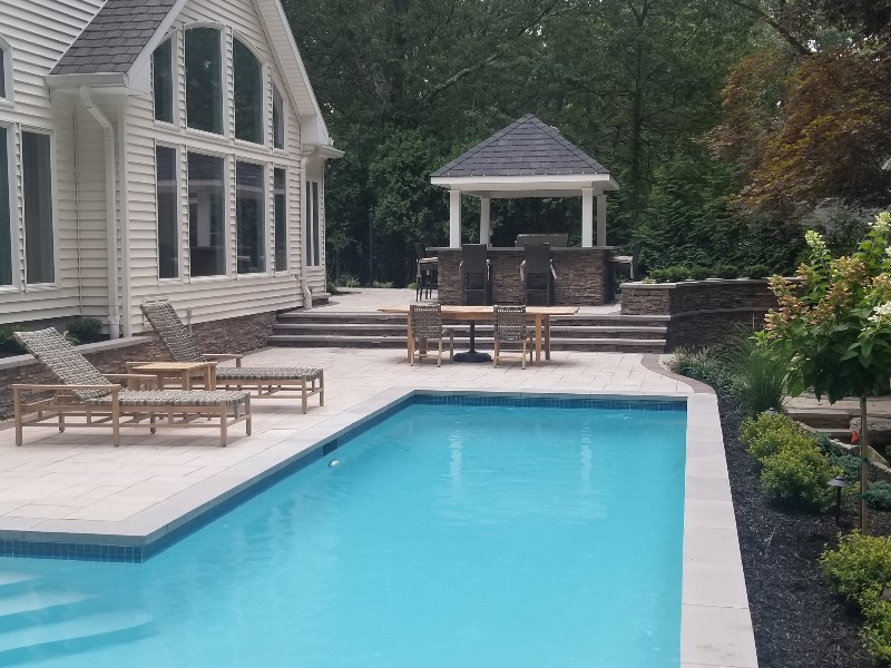 backyard pool patio with xl pavers