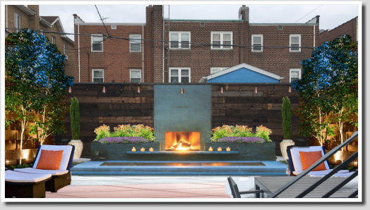 urban backyard design with fire place and spa