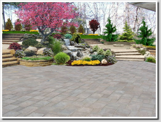 backyard landscape design with waterfall