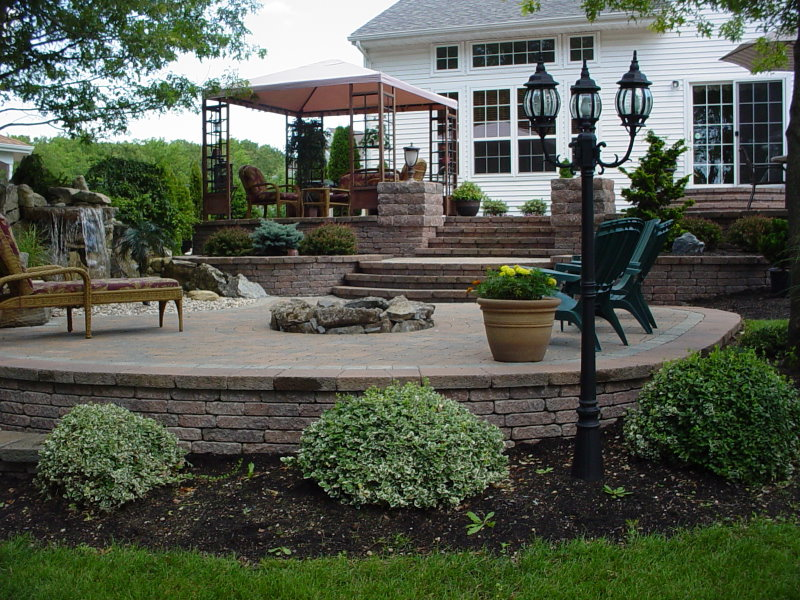 Raised patio with waterfall