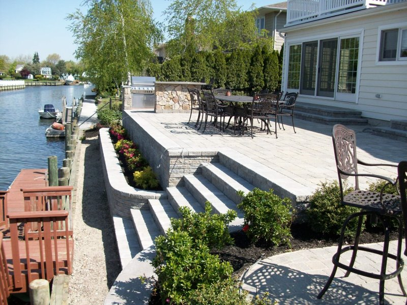 Raised patio waterfront