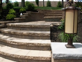 Multi-level patio with steps
